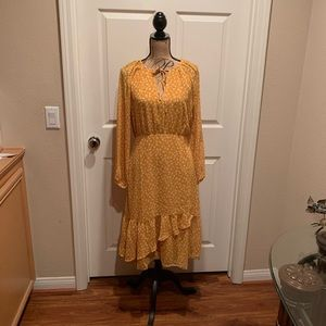 Mustard yellow and white floral print dress